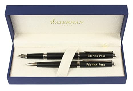 Waterman Hemisphere fuente y el bolígrafo negro mate personaliseitonline regalo grabado embellecedores cromados encajonado: Amazon.es: Oficina y papelería