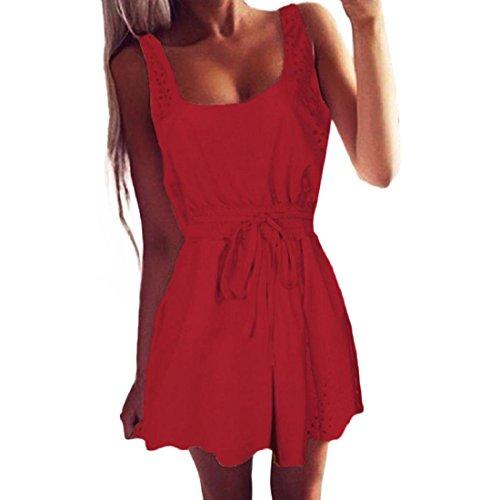 e626071aef52 PAOLIAN Damen Sommerkleid Frauen Sommer Beiläufig Kleider Ärmelloses  Cocktail Kurzes Minikleid A-Linie Weste Strandkleid