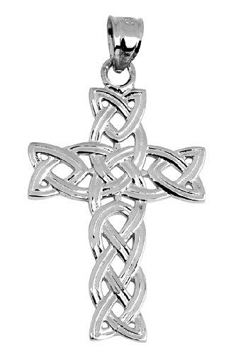 10 ct 471/1000 Or Blanc Irlandais Celtique Croix Pendentif
