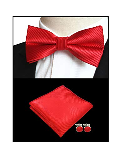 Men Cherry Red Bow Ties Pocket Square Set Solid Color Silk Jacquard Woven Cravat