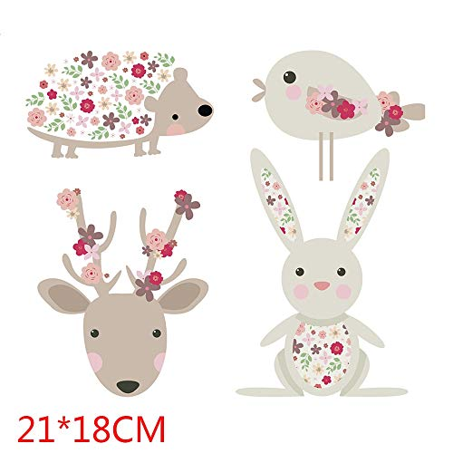 (Iron On Print - Cute Cartoon Bird Beer Rabit Patches Heat Transfer Iron On Patch A Level Washable Clothes Stickers - Outdoors Ocean American Earth Heat Daisy Disc Wars Hearts Music Jackets Back)