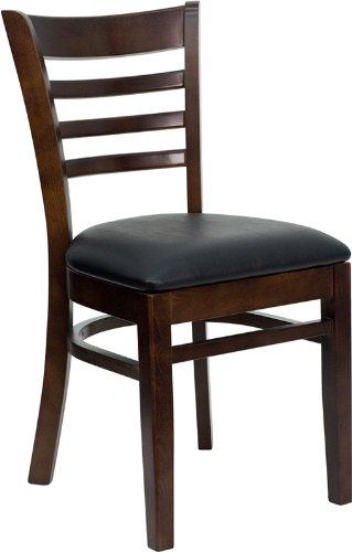 Flash Furniture Hercules Series Ladder Back Walnut Finish Wooden Restaurant Chair - Black Vinyl Seat (Walnut Back Finish)