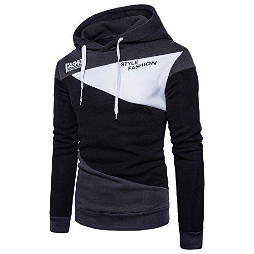 Incappucciati Shirt Testa Tether Maglione Black qxlettere Di Manicotto Qianabbigliamento Cucitura Uomini Zq Leisure pAvA6XS