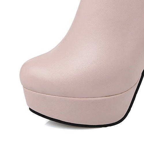 Vaaleanpunainen Solid Allhqfashion Materiaali Top Matalan Korkokengät Pehmeä Vetoketju Naisten Saappaat fTzcTq6R