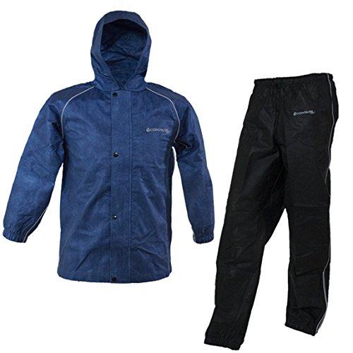 COMPASS VT13332-1021-LG Visitek T50 Youth Rain Suit, Black/Blue, Large