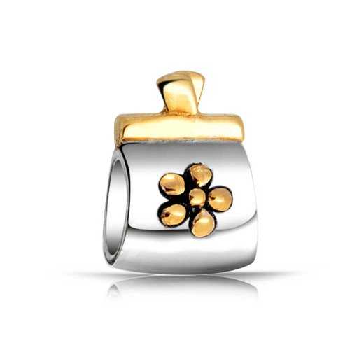 Bling Jewelry Gold Plated Two Toned Flower Clutch Purse Charm Bead .925 Sterling Silver (Flower Two Toned)