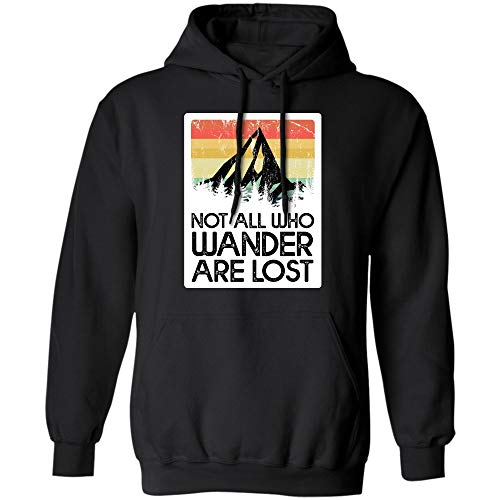 Not All Who Wander are Lost Gradient Mountain Gold T-Shirt Hoodie (Hoodie;Black;4XL)