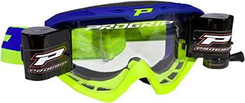 (Pro Grip 3450 Riot MX Offroad Goggles w/Roll-Off System Electric Blue/Fluo Yellow)