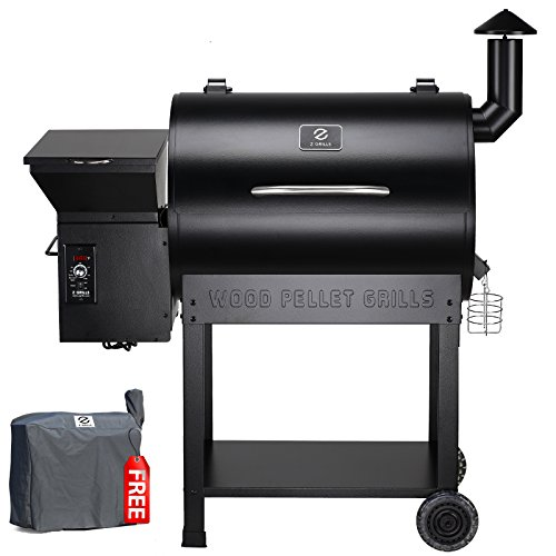 Z Grills ZPG-7002B 2019 New Model Wood Pellet Grill & Smoker, 8 in 1 BBQ Grill Auto Temperature Controls, 700 sq inch Cooking Area, Black Cover Included