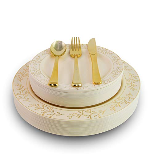 Exquisite 200 Pcs Heavyweight Disposable Plastic Plates and Cutlery Set Includes 40 Gold Leaf Trim Dinner Plates 40 Gold Dessert Plates and 40 Pcs of Glossy Gold Plastic Forks Knives and Spoons