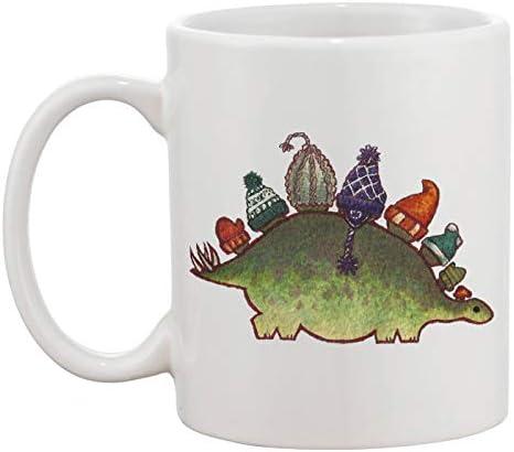Winter Green Stegosaurus Witte Mok Koffie Thee Keramische Beker Heren Dames Coffee Tea Mug Cup