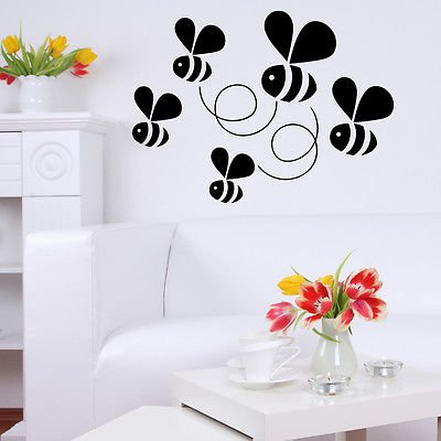 Flying Bumble Bees Childrens Wall Stickers - Art Decal Vinyl Sticker