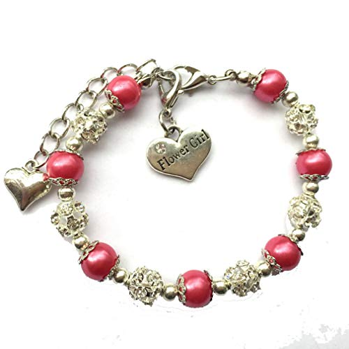 DOLON Flower Bridal Wedding Faux Pearl Charm Bracelet Deep - Pink Flower Deep