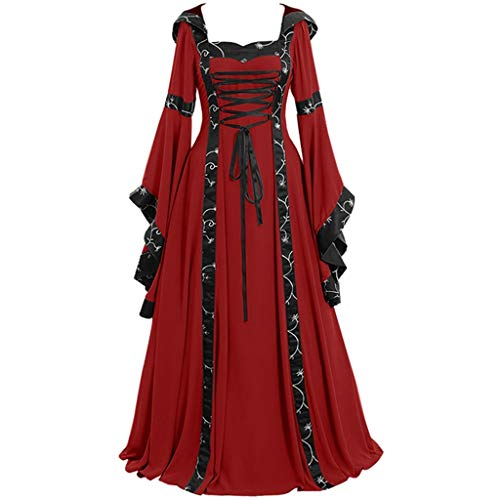Clearance Renaissance Dress,Forthery Womens Medieval Costume Dress Lace up Irish Over Long Dresses Cosplay Retro Gown(Red,XXL)