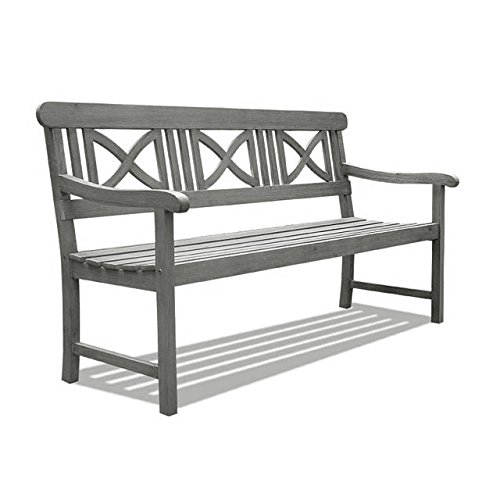 Vifah V1299 Renaissance Outdoor Hand-Scraped Hardwood Bench For Sale