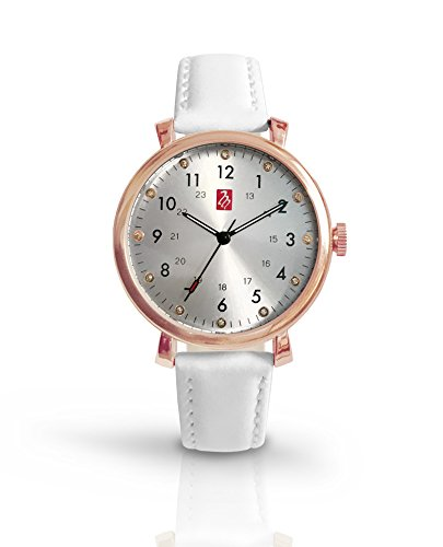 (Prestige Medical Melrose Premium Watch, Rose Gold with White Band)