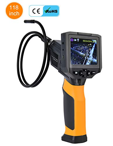 Hti@XT Portable Video Borescope,Flexible Endoscope w/Inspection Camera & Light. Waterproof, 3.5 Inch Video Screen, 3 Mega Pixels Resolution, Low Light Camera, 4 x Zoom, 8.5 mm Probe w/ 6 LEDs(10 FT)