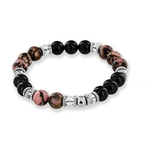 Onyx Gift Set - Believe London Gemstone Bracelet Chakra Bracelet Anxiety Crystal 7 Chakra Natural Stone Healing Men Women Stress Relief Reiki Yoga Diffuser Semi Precious (Rhodonite & Onyx 7