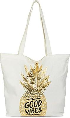 7fee226295705 styleBREAKER Shopper Einkaufstasche mit Gold Ananas und  Good Vibes  Print