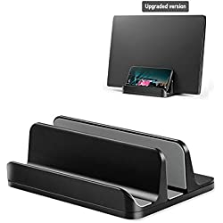 Vertical Laptop Stand, Adjustable Aluminum Desktop Stand for All MacBook, HP, Surface, Dell, Chromebook, Wireless Keyboard, Gaming Laptops (up to 17.3 inch), with iPad Holder, Black