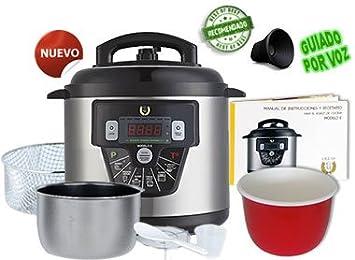 Cocina programable GM modelo E freidora y Voz - 6 litros + Cubeta Regalo Cerámica Roja: Amazon.es: Hogar