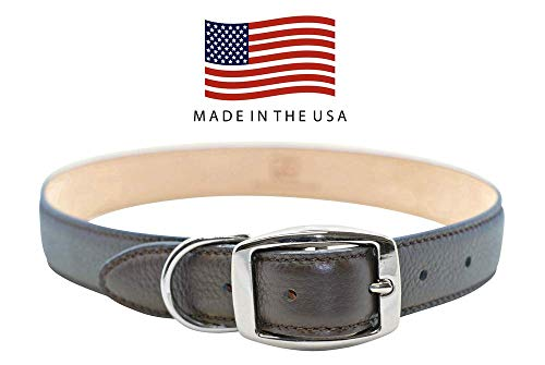 Real Leather Creations Dog Collar - Chocolate Brown Genuine Colorado Leather - American Factory Direct - Various Sizes and Colors - Prime Quality - Made in USA Large FBA903