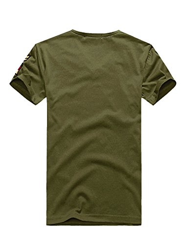 Allegra K Men Cool Tees V Neck T Shirts Badge Embroidery Short Sleeve Tee,Large / US 42,Olive Green