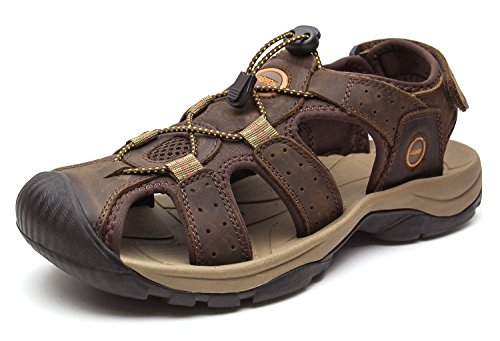 (YoCool Hiking Water Sandals for Men Leather Closed Toe Athletic Casual Beach 1365-45/SZ)