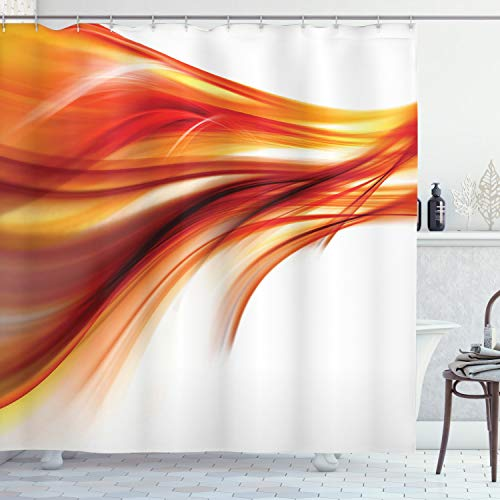 """Ambesonne Abstract Shower Curtain, Modern Contemporary Abstract Smooth Lines Blurred Smock Art Flowing Rays Print, Cloth Fabric Bathroom Decor Set with Hooks, 75"""" Long, Dark Red"""
