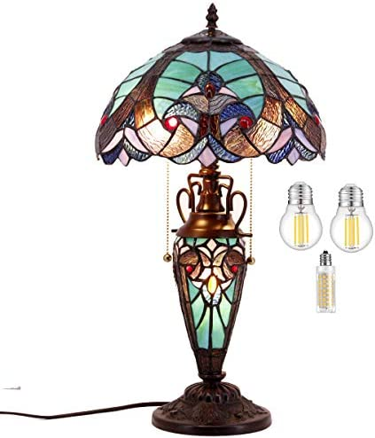 Stained Glass Table Lamp LED Bulb Included W12H22 Inch Antique Tiffany Style Green Liaison Night Light S160G WERFACTORY Lamps Lover Living Room Bedroom Dresser Bedside Coffee Desk Reading Art Gifts