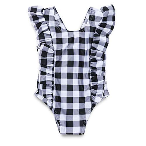 Hunputa Baby Girl Bikini Striped Beach Swimsuit Ruffles Bathing Suit ()