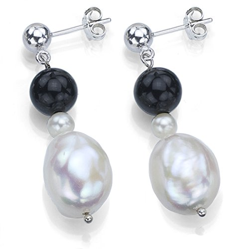8mm Black Cultured Pearl Earrings - 1