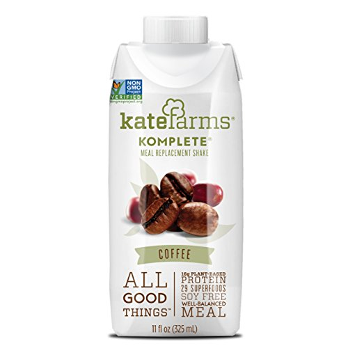 Coffee Meal Replacement Shake by Kate Farms | Gluten, Nut and Dairy Free | Organic Plant Protein Drink for Active Adults | Pack of 12