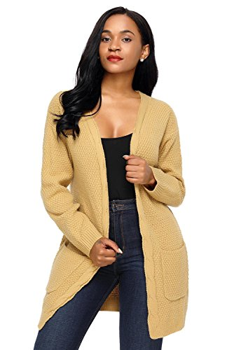 Long Front Stylish Cardigan Pocket Khaki Women's Elegant Sweater LADY Open ART and qgTFFY