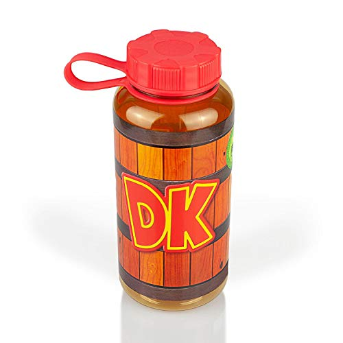 JUST FUNKY Exclusive Donkey Kong Water Bottle | Designed to Look Like DK's Barrel | Twistable Top | 24 Ounce Capacity