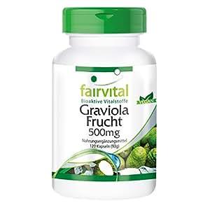 Graviola 500mg - A GRANEL durante 4 meses - VEGANO - ALTA DOSIS - 120 Cápsulas