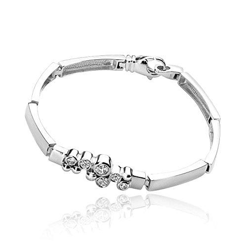 MATERIA zirconium argent 19 cm juwelieranfertigung allemande 18 g-bracelet en argent 925 rhodié avec 12 zirconium livrées #oui - 3