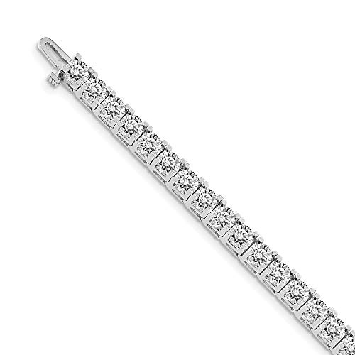 Mia Diamonds Solid 14k White Gold 16.00ctw. Colorless Moissanite 4 Prong Tennis Bracelet
