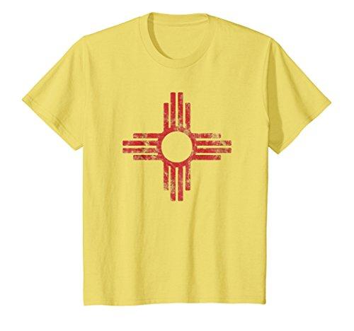 Kids New Mexico t-shirt - Zia symbol distressed State Flag tshirt 8 (Symbol New T-shirt)
