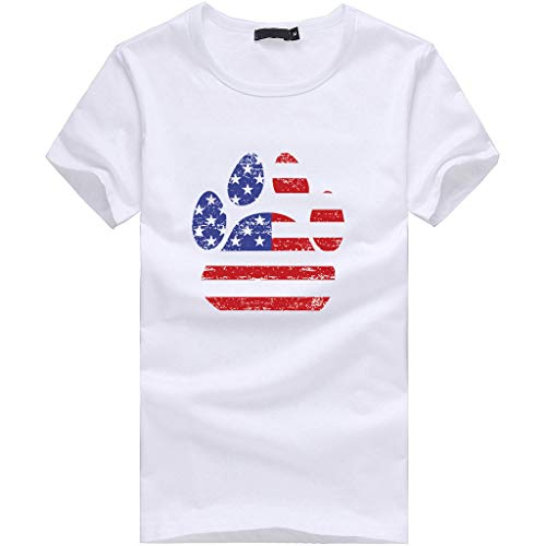 Barthylomo Patriotic Shirts for Women, Dog Claw American Flag Print T-Shirts Short Sleeve Casual Tops Summer