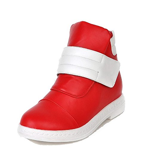 Allhqfashion Low top Closed Toe Red Boots Heels Round Hook Loop Low Women's PU and PZSqrwP0