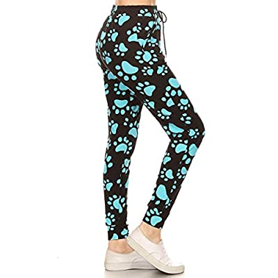 Leggings Depot Premium Women's Joggers Popular Print High Waist Track Pants(S-XL) BAT3 at Women's Clothing store