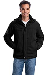 Port Authority Men\'s Herringbone 3 in 1 Parka L Black
