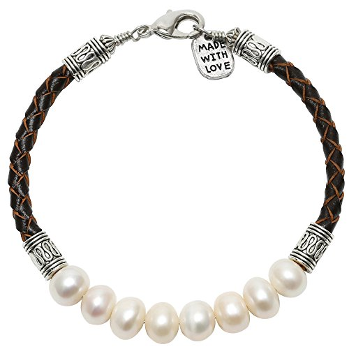 (Aobei Pearl White Cultured Freshwater Pearls Bracelet Bangles with Braided Leather Cord for Women)