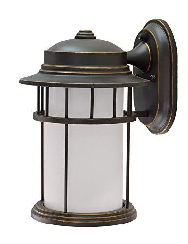 Aspen Outdoor Light (Aspen Creative 60002 1 Light Medium Outdoor Wall Light Fixture with Dusk to Dawn Sensor, Transitional Design in Aged Bronze Patina, 13 1/4