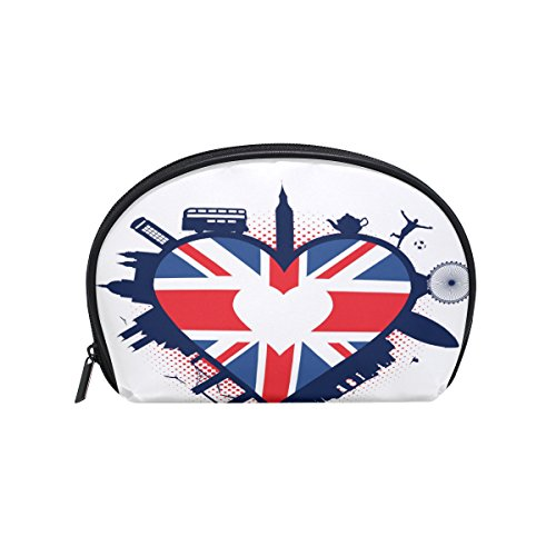 ALAZA British Flag Love Half Moon Cosmetic Makeup Toiletry B