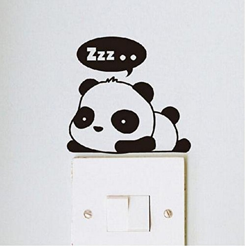 Crqes 1 Pcs ZZZ Panda DIY Switch Sticker Wall Quote Wall Stickers Vinyl Mural Decor Decals