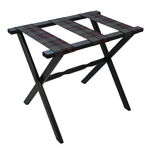 Gate House Furniture Straight Leg Designer Series Wood Luggage Rack, Black/Grey (Scheibe Luggage)