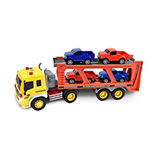 Long Haul Vehicle Transport – Lights and Sounds Pull Back Toy Vehicle with Friction Motor   Includes 4 Die Cast Pick Up Trucks – Maxx Action
