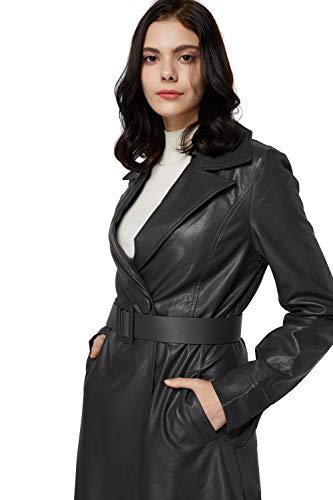 Elezay Women's PU Leather Long Coat,Elegant Ankle Length Jacket,Maxi Silm Jacket with Belt Faux